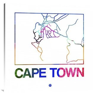 NAXART Studio 'Cape Town Watercolor Street Map' Stretched Canvas Wall Art