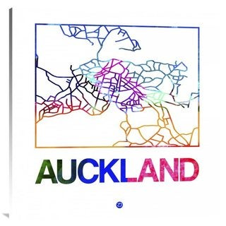 Naxart Studio 'Auckland Watercolor Street Map' Stretched Canvas Wall Art