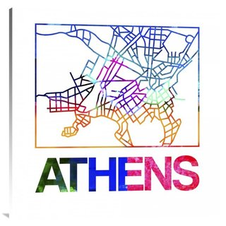 Naxart Studio 'Athens Watercolor Street Map' Stretched Canvas Wall Art