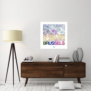 Naxart Studio 'Brussels Watercolor Street Map' Stretched Canvas Wall Art