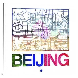NAXART Studio 'Beijing Watercolor Street Map' Stretched Canvas Wall Art