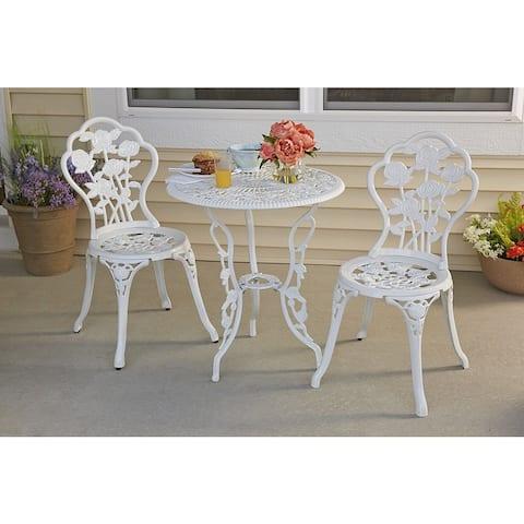 Rose Garden 3-piece Bistro Set - White