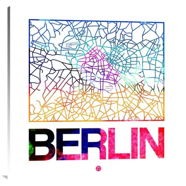 NAXART Studio 'Berlin Watercolor Street Map' Stretched Canvas Wall Art