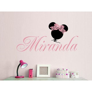 Girl Name Minnie Mouse Bow Sticker Personalized Name Nursery Baby Kids Custom Name Sticker Decal siz