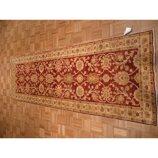 Hand Knotted Burgundy Oushak with Wool Oriental Rug (3'3 x 9'3)