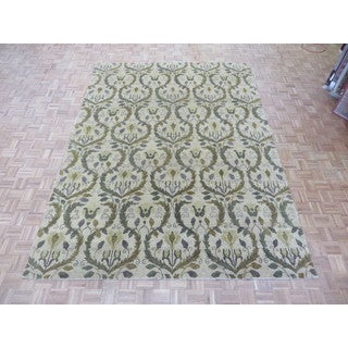 Hand Knotted Beige Oushak with Wool Oriental Rug (8'10 x 11'11)