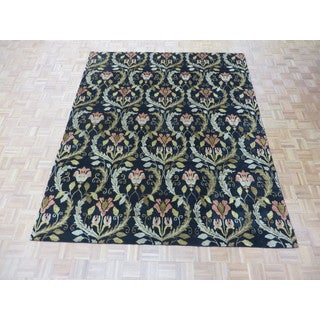 Hand Knotted Black Oushak with Wool Oriental Rug (7'11 x 9'7)