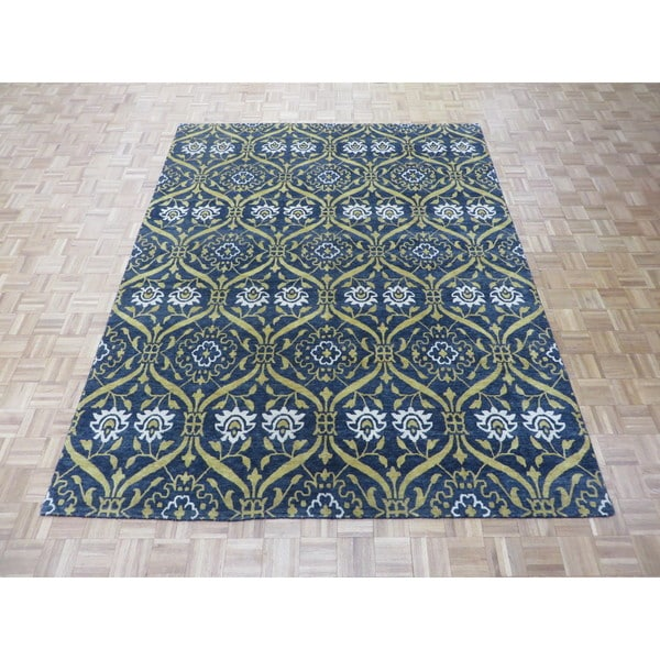 Shop Hand Knotted Black William Morris Oushak With Wool Oriental Rug