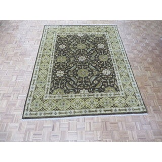 Hand Knotted Chocolate Brown Fine Oushak with Wool Oriental Rug (7'10 x 9'9)