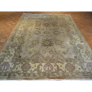 Hand Knotted Beige Oushak with Wool Oriental Rug (9'3 x 11'10)