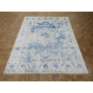 Hand Knotted Ivory Heriz with Bamboo Silk Oriental Rug (7'10 x 9'9)