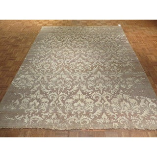 Hand Knotted Camel Modern with Silk Blend Oriental Rug (7'8 x 9'6)