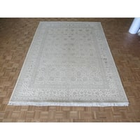 Hand Knotted Ivory Tabriz with Silk Blend Oriental Rug - 8'11 x 12
