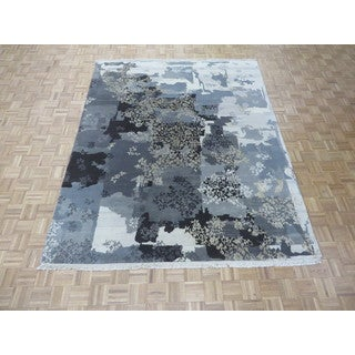 Hand Knotted Grey Modern with Silk Blend Oriental Rug (7'11 x 9'10)