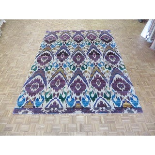 Hand Knotted Ivory Ikat Sari Silk with 100% Silk Oriental Rug (9 x 12'3)