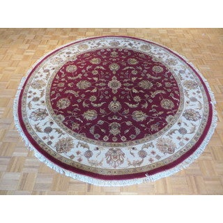 Hand Knotted Red Tabriz with Wool and Silk Oriental Rug (8'2 x 8'2)