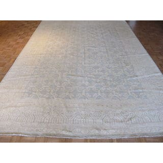 Hand Knotted Silver Blue Fine Khotan Peshawar with Wool Oriental Rug (9'11 x 13'5)