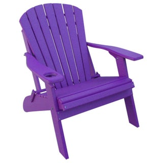 Poly Adirondack BIG BOY Chair- OVERSIZED - 1 Cup Holder (Option: Purple)