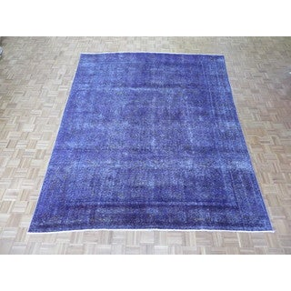 Hand Knotted Purple Tabriz with Wool Oriental Rug (9 x 11'4)