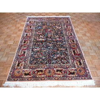 Hand Knotted Navy Tabriz Silk Oriental Rug (6' x 9')