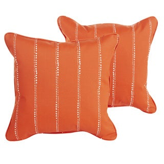 Perry Orange Dotted Stripes Indoor/ Outdoor 18 inch Corded Pillow Set