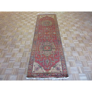 Hand Knotted Brick Red Fine Serapi Heriz with Wool Oriental Rug (3 x 9'11)