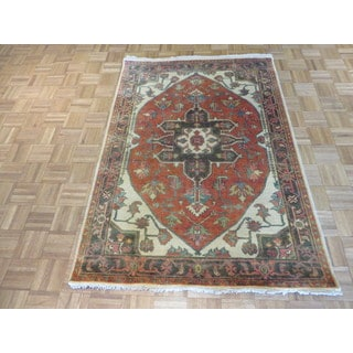 Hand Knotted Rust Red Fine Serapi Heriz with Wool Oriental Rug (4 x 5'10)
