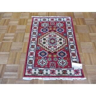 Hand Knotted Red Kazak Wool Oriental Rug (2'1 x 3)