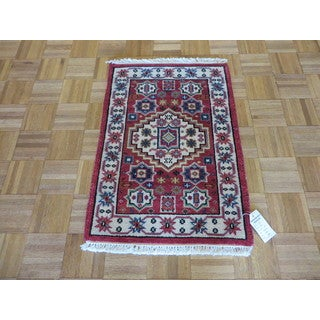 Hand Knotted Red Kazak with Wool Oriental Rug (2 x 2'11)