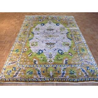 Hand Knotted Lavender Sari Silk Ikat with Sari Silk Oriental Rug (8'2 x 10'11)