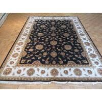 Hand Knotted Black Tabriz with Silk Blend Oriental Rug - 9 x 12'2