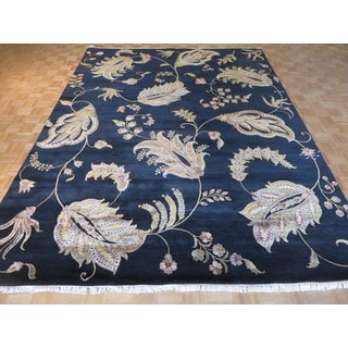 Hand Knotted Black Agra with Wool & Silk Oriental Rug (9'1 x 12)