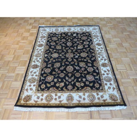 Hand Knotted Black Agra Wool & Silk Oriental Rug - 5'2 x 6'10