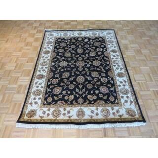 Hand Knotted Black Agra Wool & Silk Oriental Rug (5'2 x 6'10)