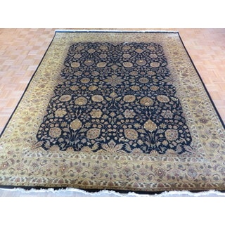 Hand Knotted Black Tabriz with Silk Blend Oriental Rug (8'1 x 9'10)
