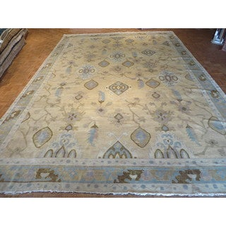 Hand Knotted Beige Fine Turkish Oushak with 100% Wool Oriental Rug (12'4 x 17'8)