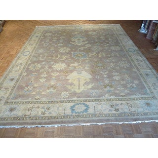 Hand Knotted Lavender Fine Turkish Oushak with 100% Wool Oriental Rug (12'3 x 14'11)