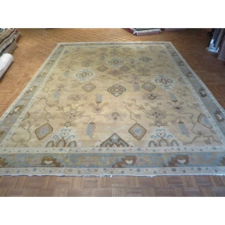 Hand Knotted Beige Fine Turkish Oushak with 100% Wool Oriental Rug (11'9 x 14'11)