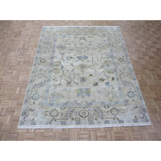 Hand Knotted Ivory Oushak with Wool Oriental Rug (8 x 9'11)