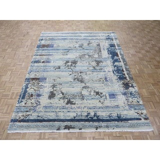 Hand Knotted Multicolored Modern with Silk Blend Oriental Rug (8'2 x 10'5)