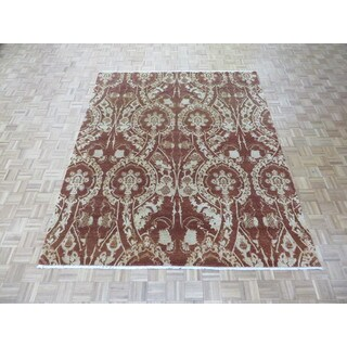 Hand Knotted Brown Modern with Silk Blend Oriental Rug (8'2 x 9'11)