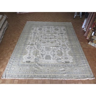 Hand Knotted Ivory Oushak with Wool Oriental Rug (12'2 x 15'3)