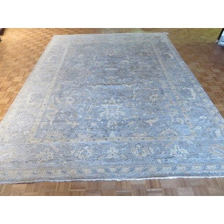 Hand Knotted Sky Blue Bamboo Silk Oushak with Bamboo Silk Oriental Rug (10'4 x 13'6)