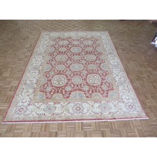 Hand Knotted Rust Red Peshawar with Wool Oriental Rug (8'11 x 12'2)