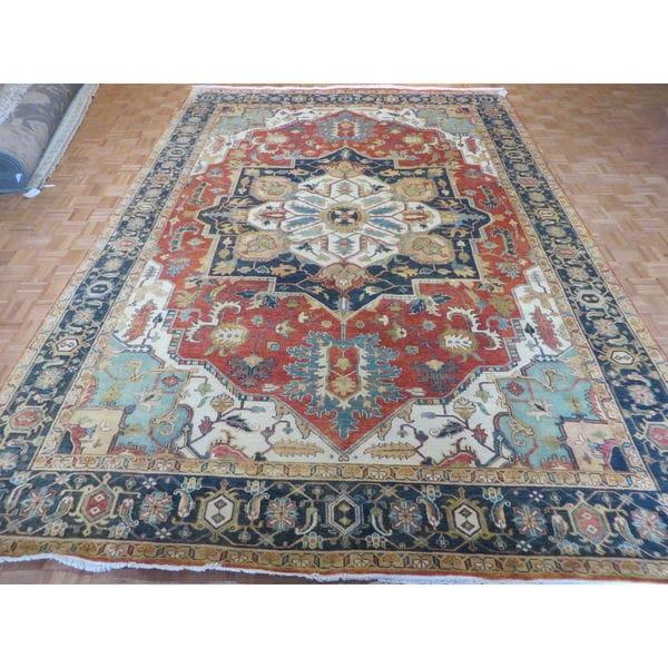 Hand Knotted Heriz Wool Fine Persian Oriental Area Rug: Shop Hand Knotted Rust Orange Fine Serapi Heriz With Wool
