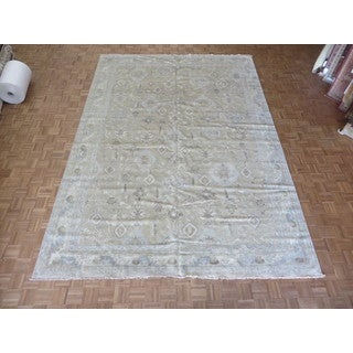 Hand-knotted Beige Fine Turkish Oushak with Wool Oriental Rug (9'10 x 13'10)