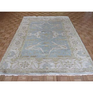 Hand Knotted Sky Blue Oushak Wool Oriental Rug (7'10 x 9'9)