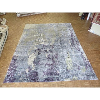 Hand Knotted Grey Sky Blue Modern with Bamboo Oriental Rug (11'10 x 15)