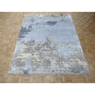Hand Knotted Sky Blue Modern with Bamboo Oriental Rug (8 x 10'1)
