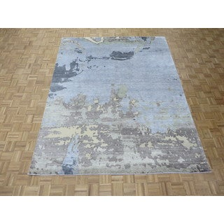 Hand Knotted Sky Blue Modern with Bamboo Oriental Rug (7'11 x 10)